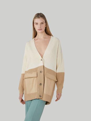 Oversized two-tone cotton cardigan