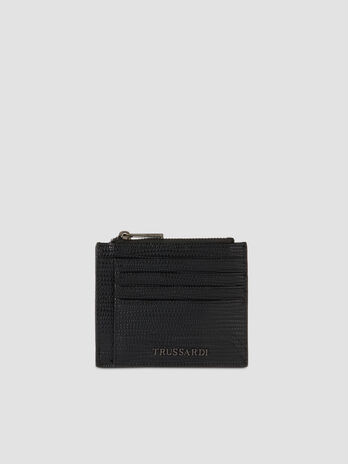 Medium faux saffiano leather Cortina card holder
