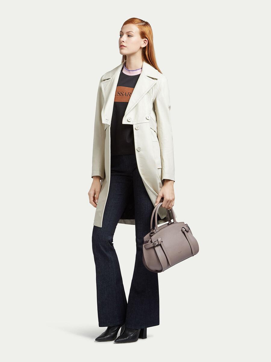 Tasche Gita Medium aus einfarbigem Leder mit Schnallen