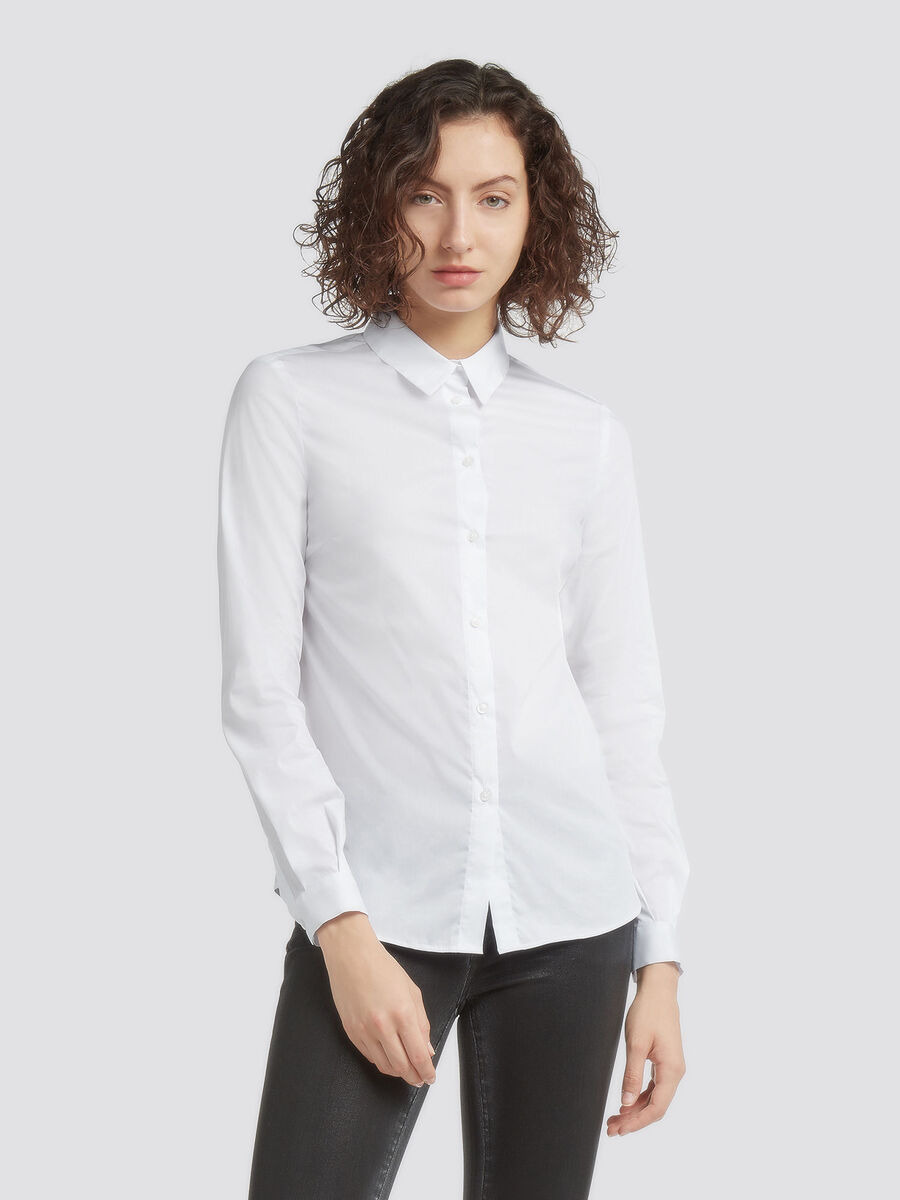 Regular fit stretch poplin shirt