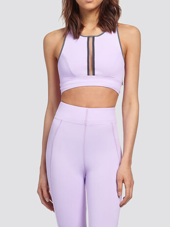 Crop top with crossover straps and cut out detail