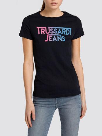 T Shirt Regular Fit aus Baumwolljersey mit Schriftzug