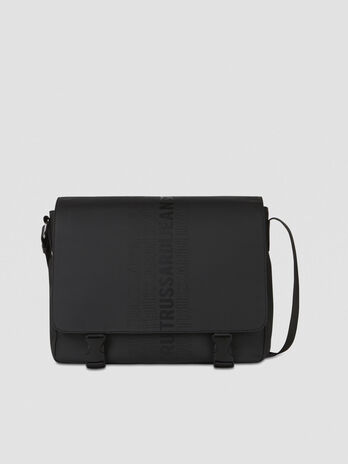 Medium canvas messenger bag with logo