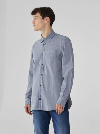 Camicia close fit in chambray stampato