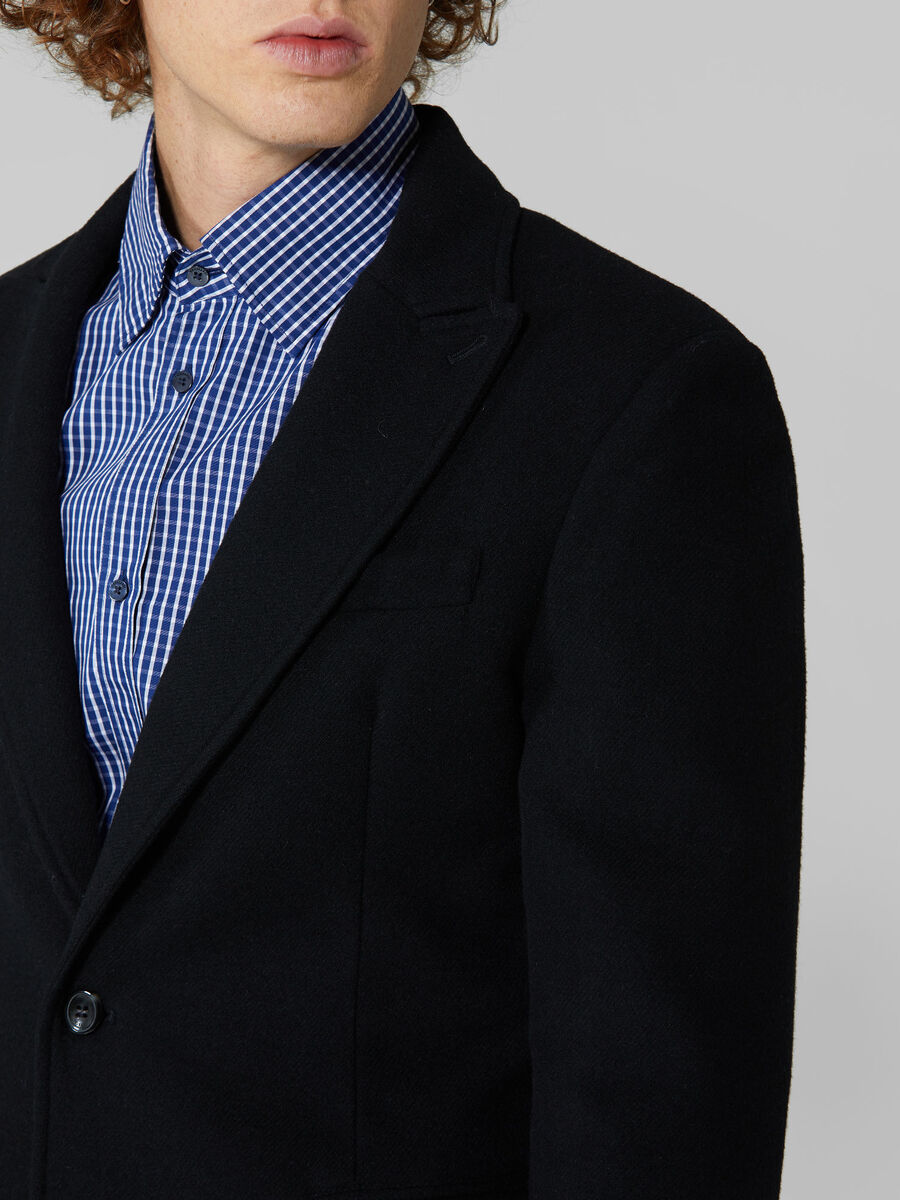Regular fit wool flannel blazer