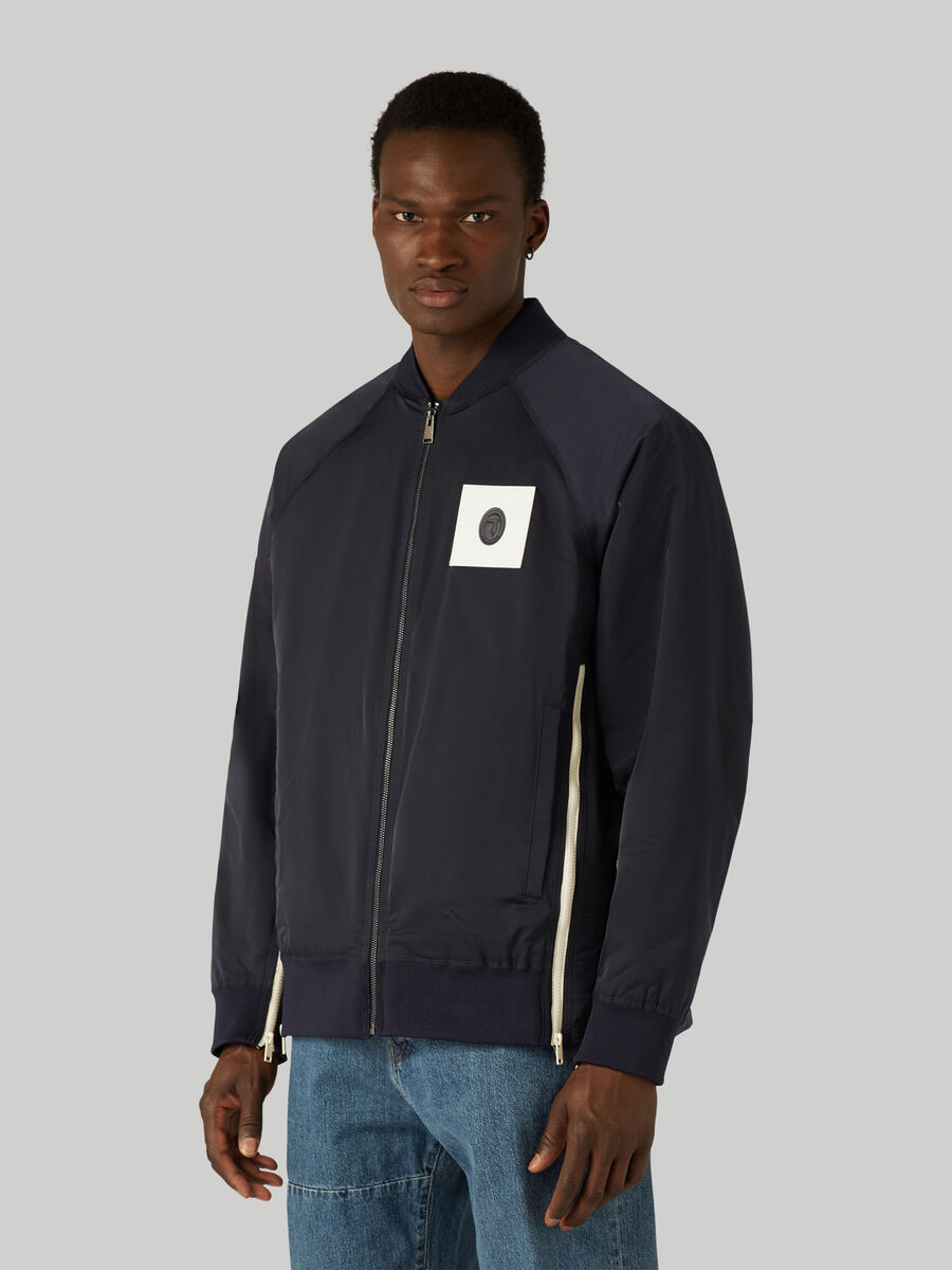 Technical satin bomber jacket