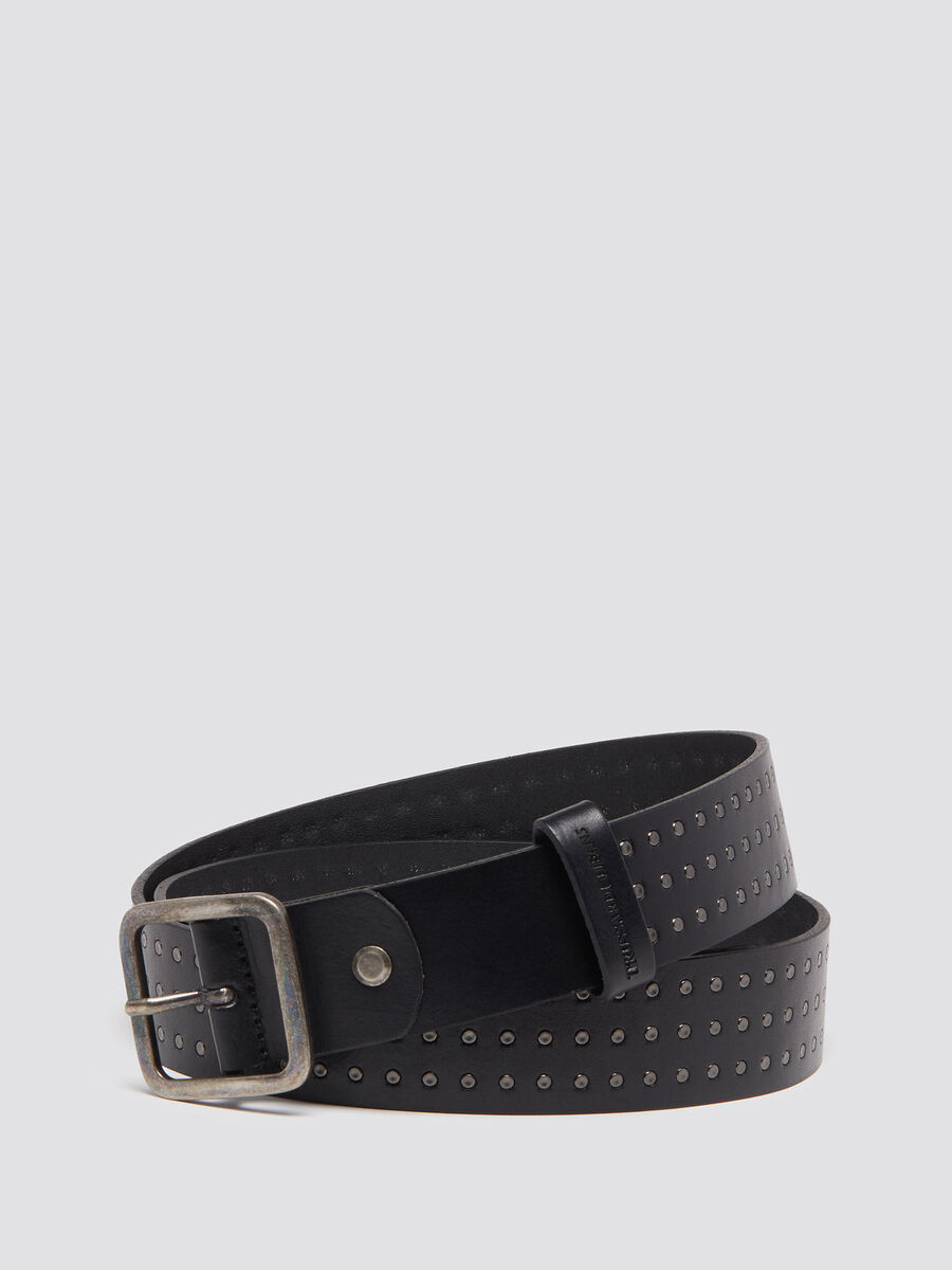 Studded leather belt with square buckle