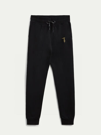 Fleece trousers with laminated monogram detail