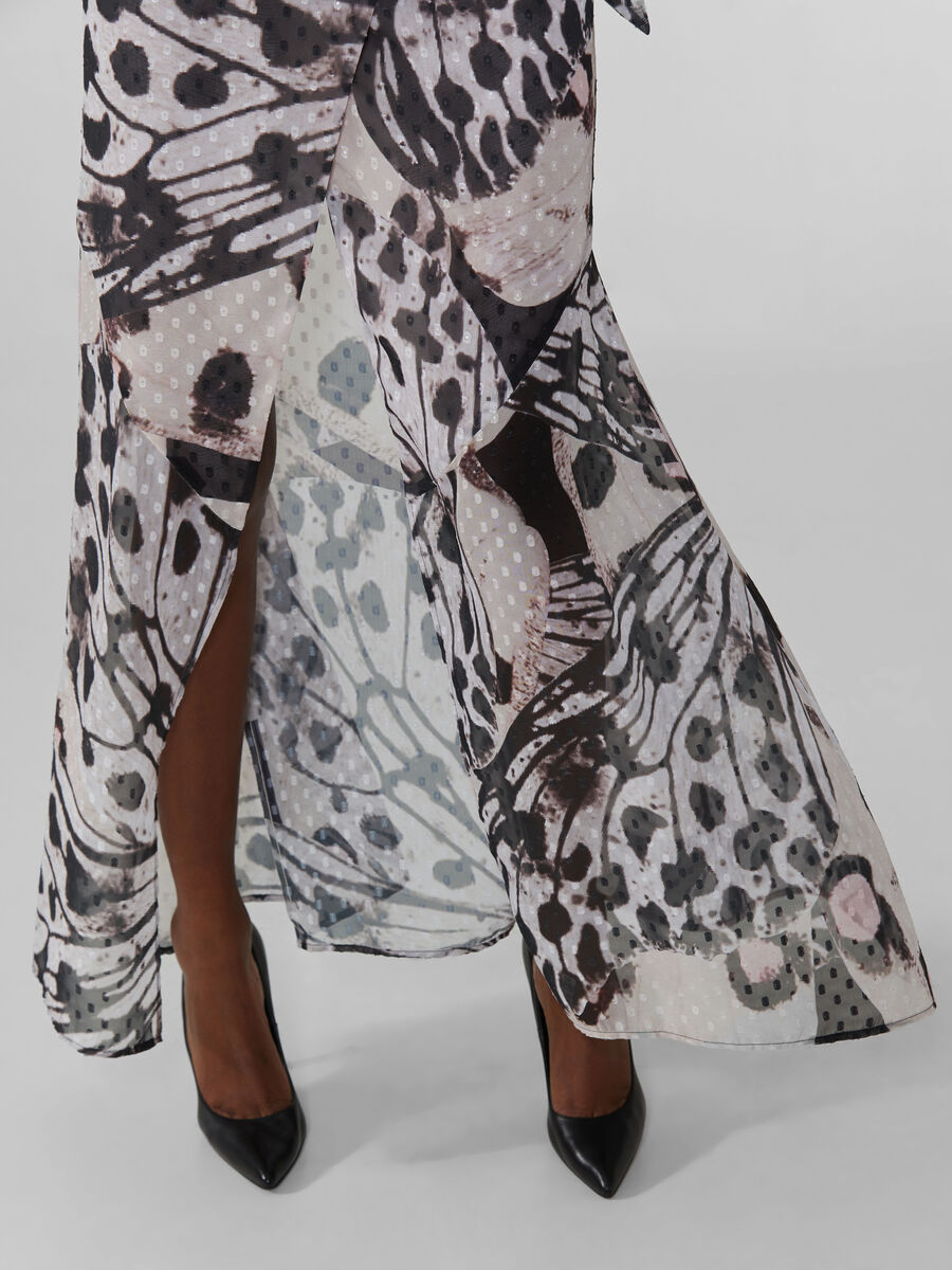 Long fil coupe skirt with butterfly print