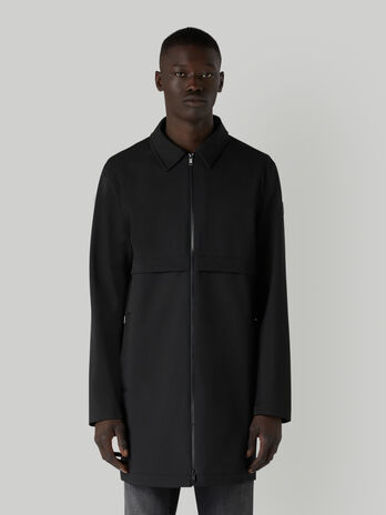 Technical fabric car coat with zip