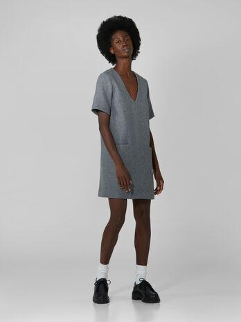 Vestido corto de tejido melange