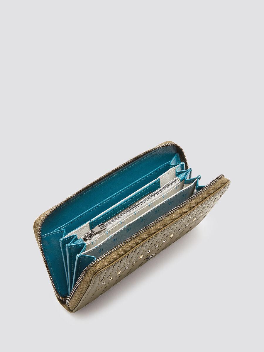 Studded zip around purse
