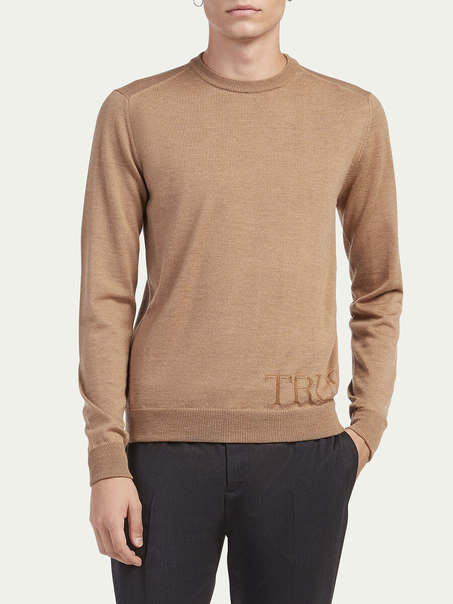 Slim fit viscose and wool pullover with lettering
