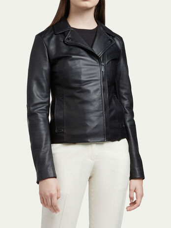 Hammered leather biker jacket