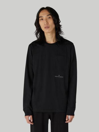 T-shirt coupe classique en coton a poche poitrine
