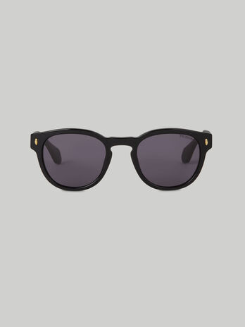 Round black acetate sunglasses