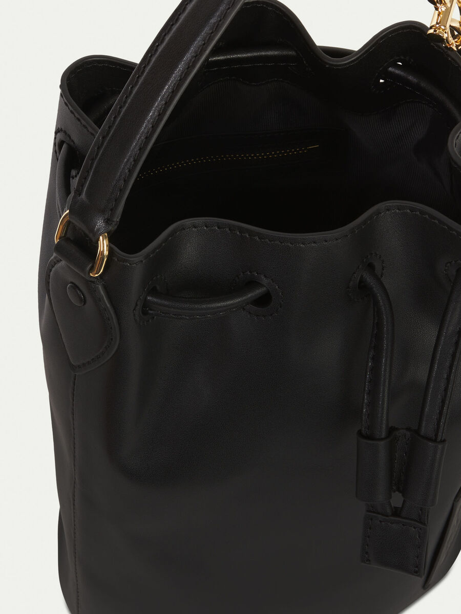 Leather bucket bag with branded patch