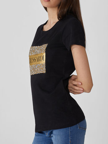 T-shirt regular fit in cotone con strass