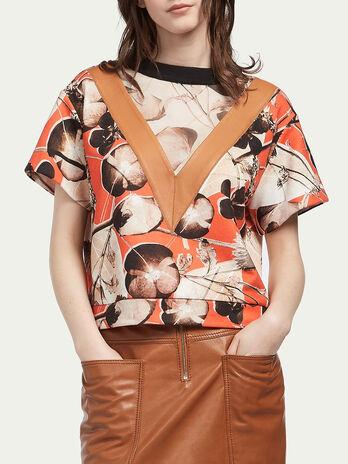 Floreales Sweatshirt im Cropped Schnitt aus Baumwolle