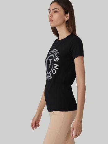 Camiseta de corte slim de algodon elastico con logotipo