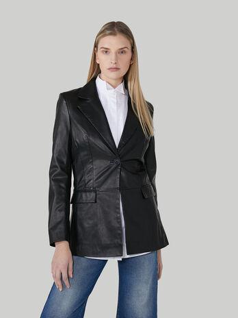 Slim-fit blazer in soft faux leather