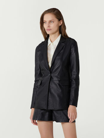 Regular fit single breasted leather blazer