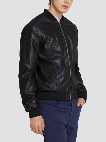 Bomber regular fit in similpelle e contrasti monocolor