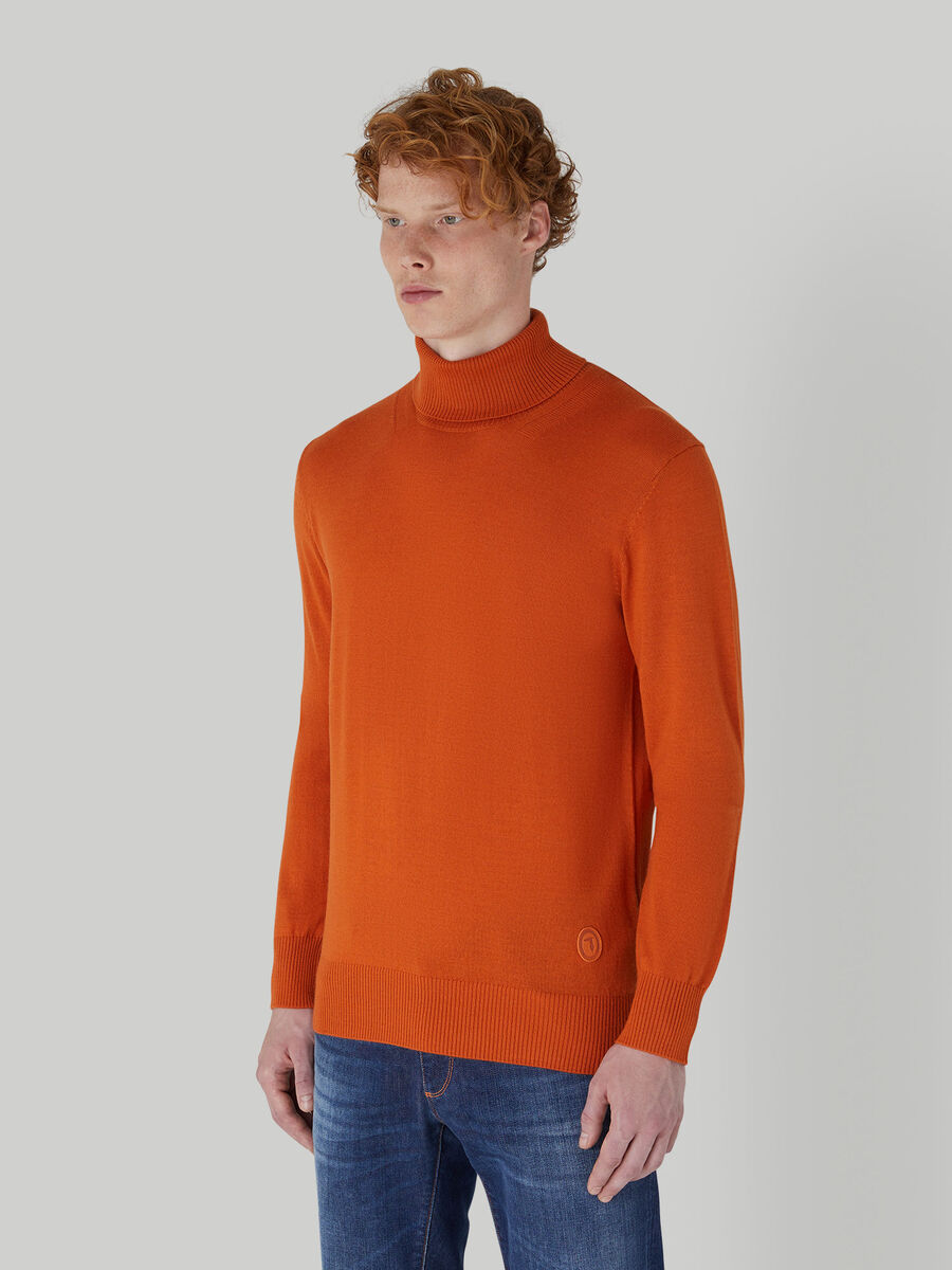 Regular-fit wool-blend polo-neck pullover