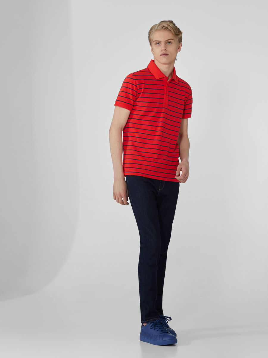 Striped regular-fit polo-shirt in cotton pique