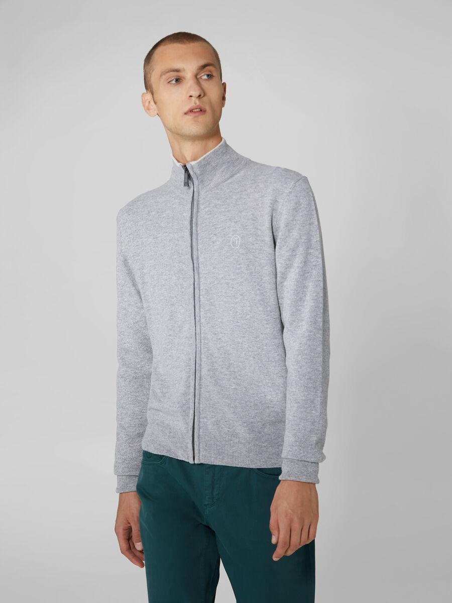 Cardigan regular fit in lana e cachemire con zip