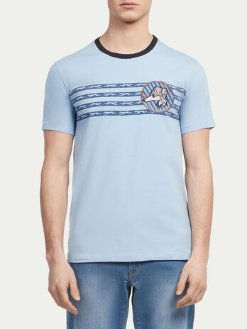 Striped T shirt with racing Levriero print