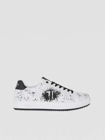 Splatter-print faux leather sneakers