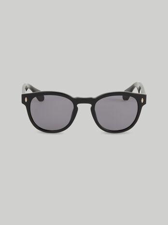 Runde Sonnenbrille aus schwarzem Acetat