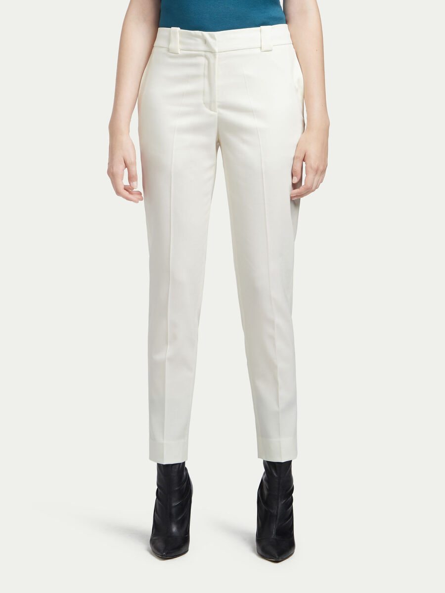 Pantalon cigarette en laine stretch