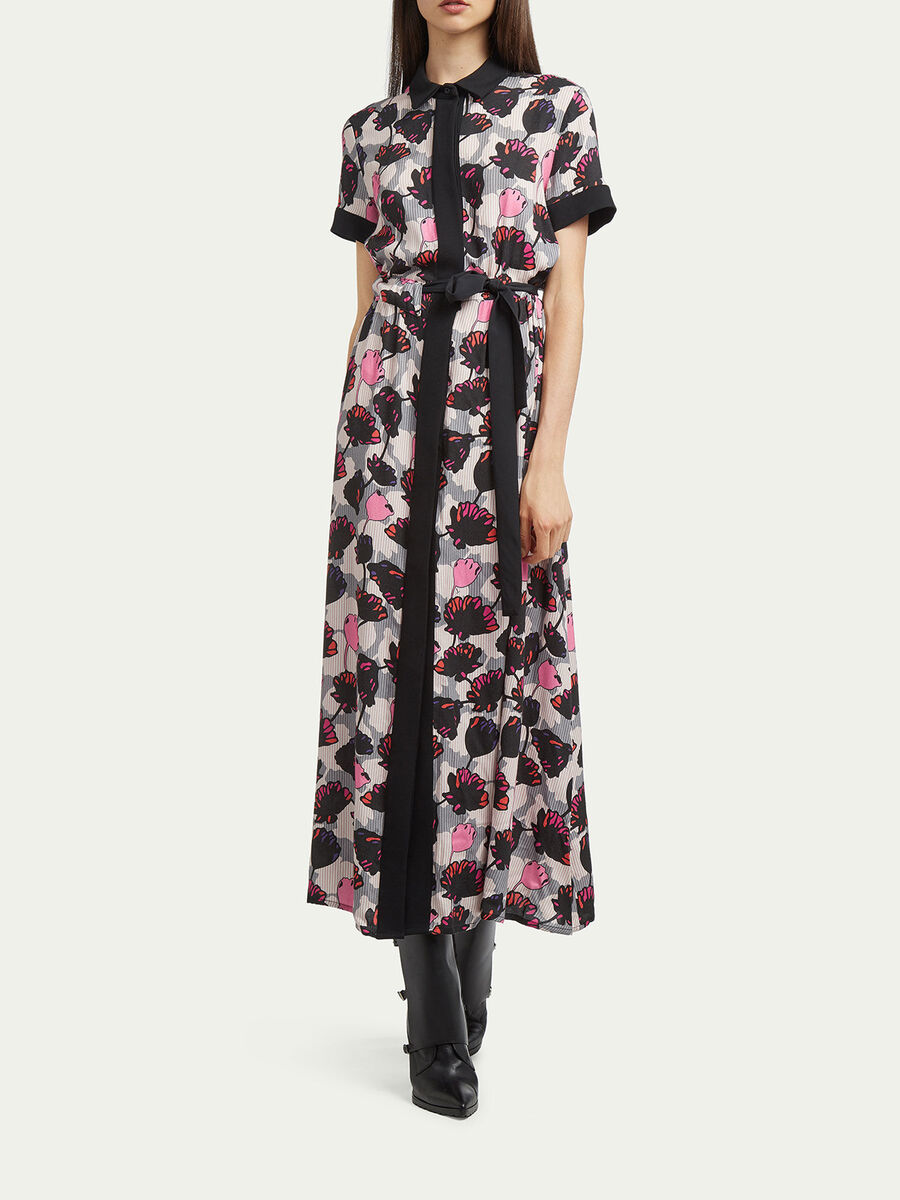 Printed wool dress with collar and belt