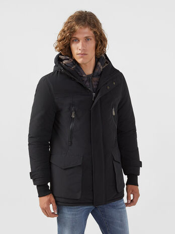 Parka regular fit in nylon e cotone