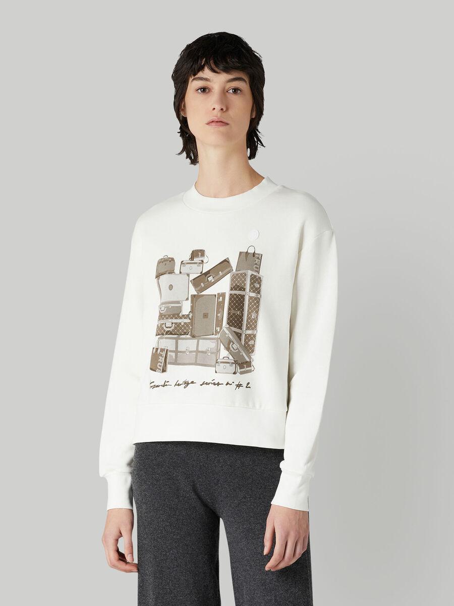 Sweat-shirt coupe classique en coton a imprime travel