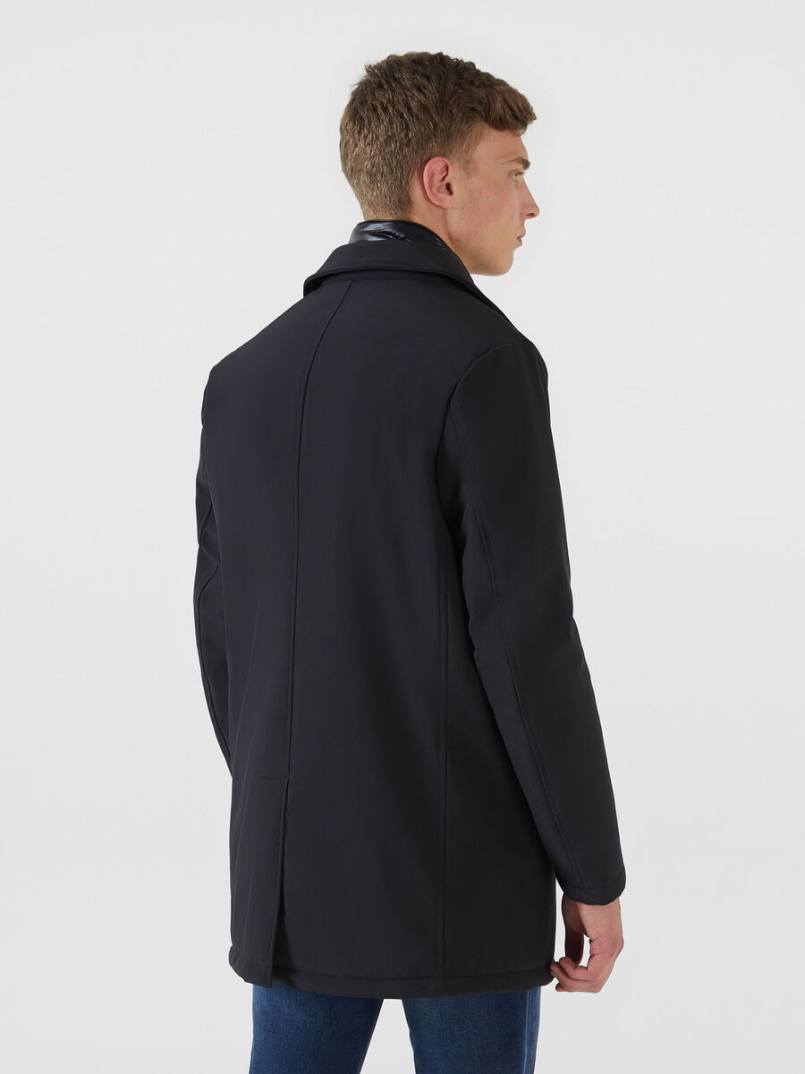 Technical fabric car coat with padded detailing