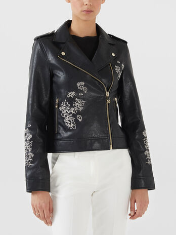 Motorcycle jacket in similpelle con ricamo