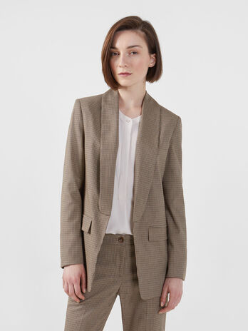 Micro chequered fabric blazer