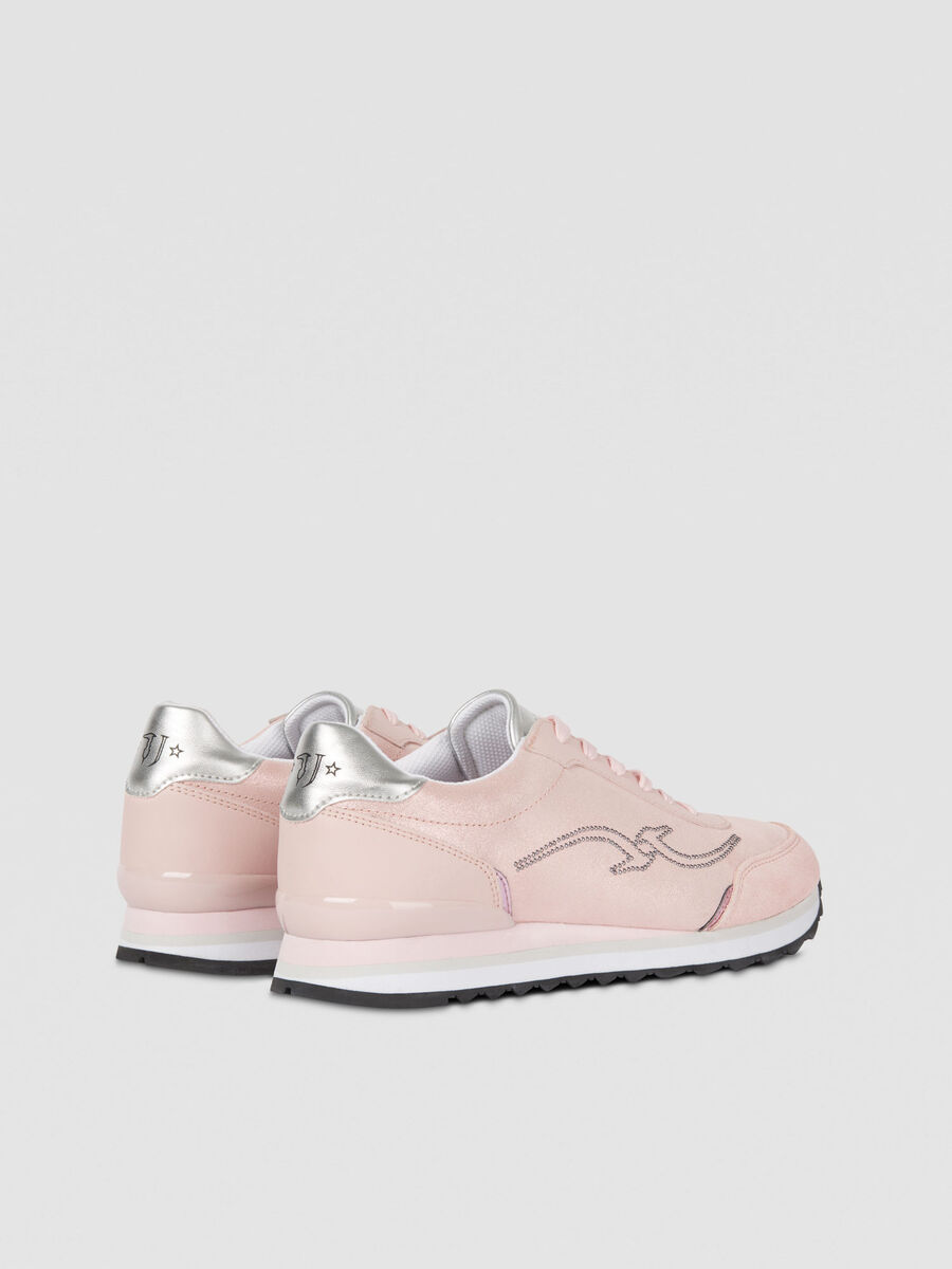 Leather running sneakers with monogram detail