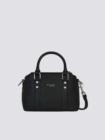Mini Berry trunk bag in monochrome faux leather logo