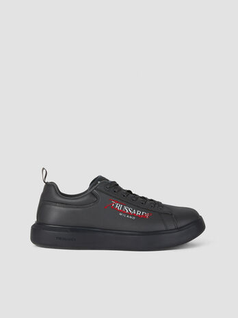 Faux leather sneakers with lettering