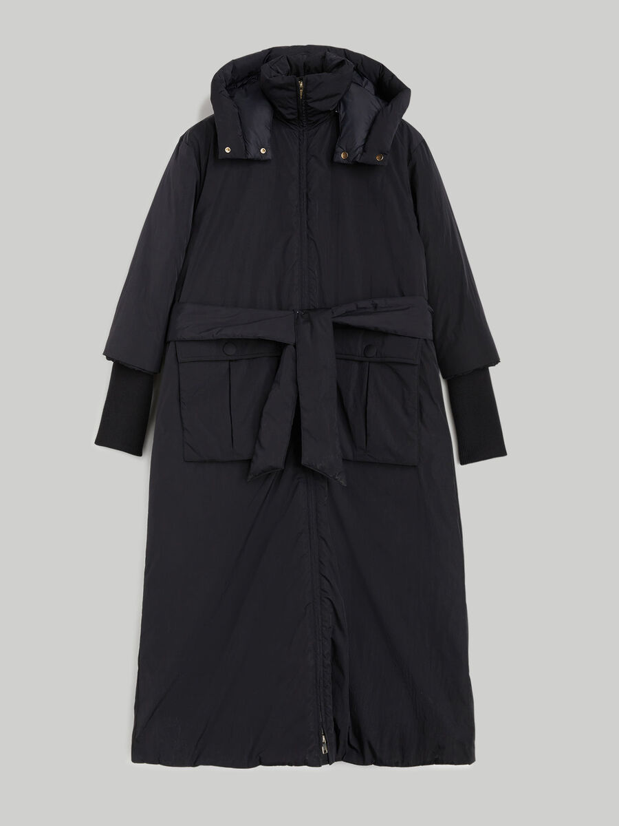 Long hooded down jacket in technical taffeta
