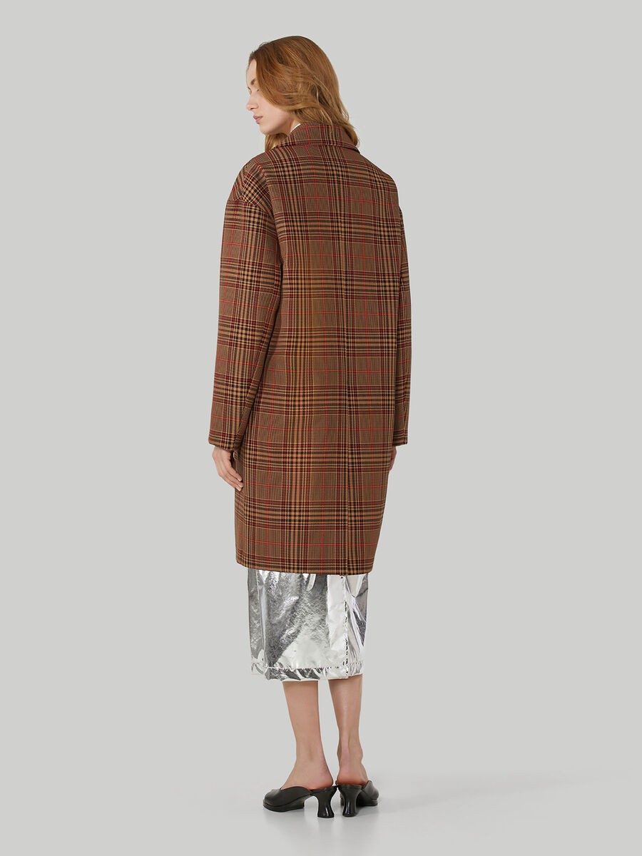 Chequered fabric duster coat
