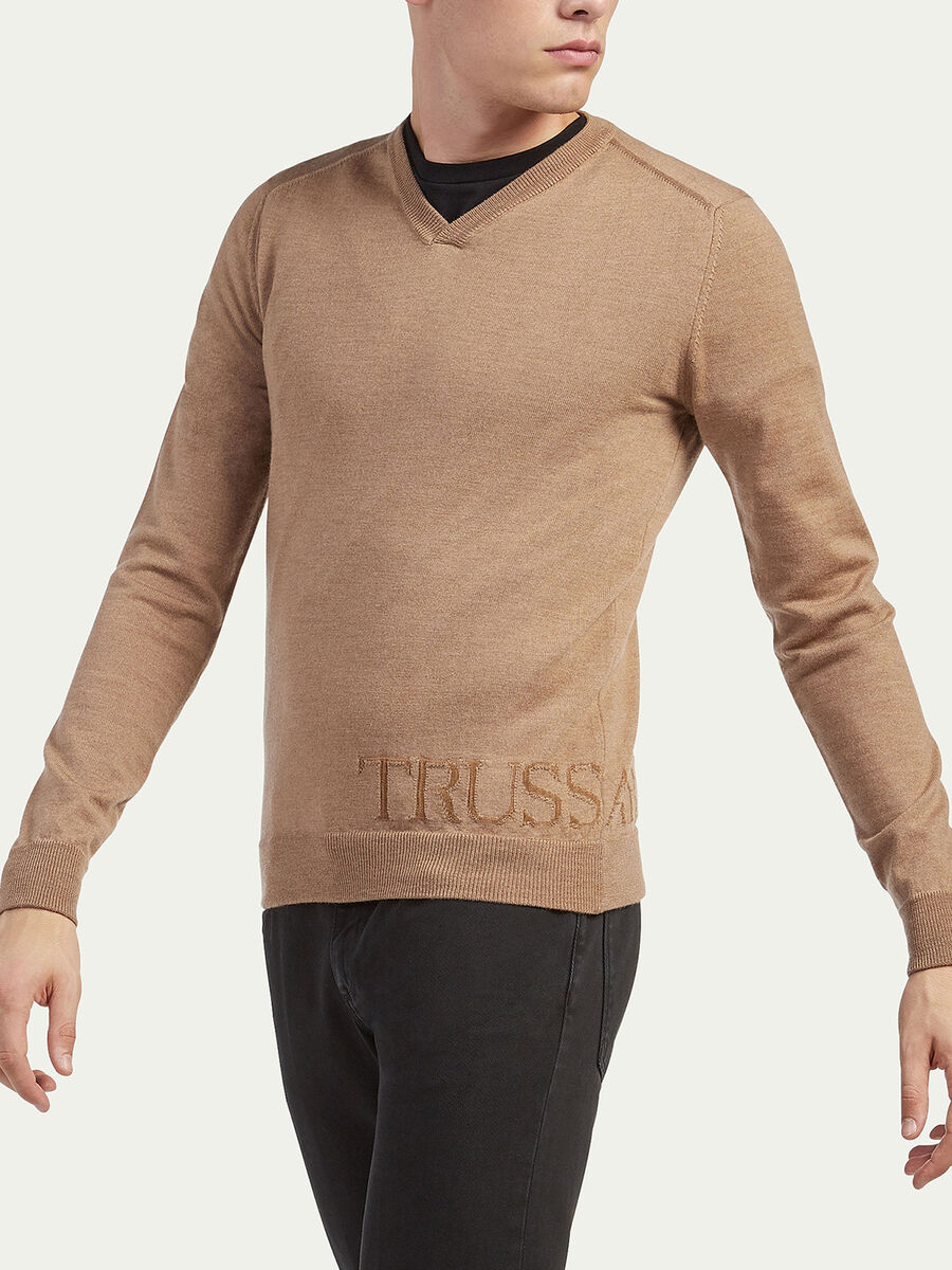 Slim fit wool and viscose pullover