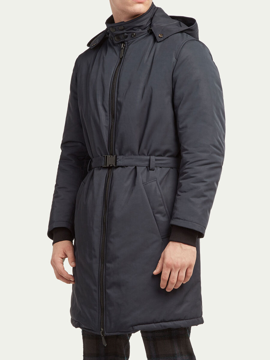 Regular fit belted parka