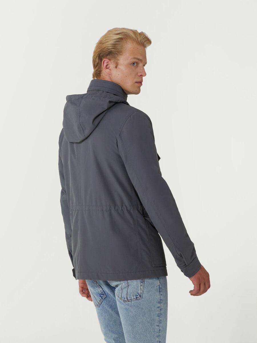 Jacke im Slim Fit aus Baumwollmix mit Taschen