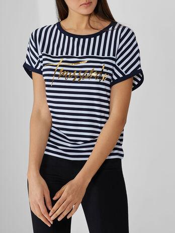 T-shirt en jersey de viscose a rayures