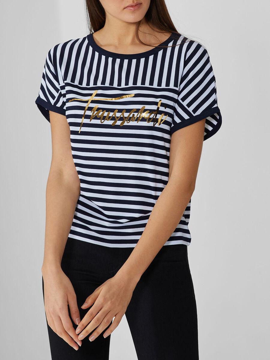 T-shirt in jersey di viscosa a righe